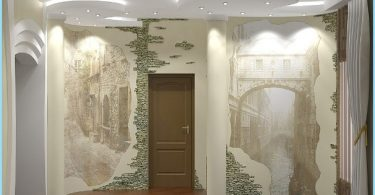 Design and decoration of the entrance hall with decorative stone