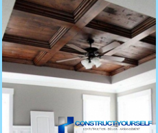 Installation of the device and coffered ceilings
